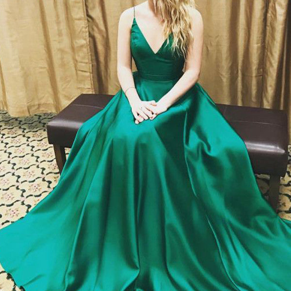 Spaghetti Straps Green Satin V Neck Elegant Evening Gowns Prom Dress LD051
