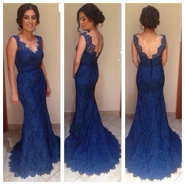 Dark Blue Lace V Neck Backless Mermaid Evening Gowns Prom Dresses LD052
