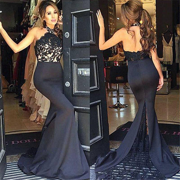 Mermaid Black Lace Halter Backless Long Prom Dress Evening Gowns LD053