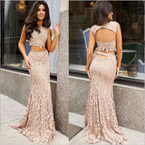 Blush Pink Lace 2 Piece Mermaid Long Backless Prom Dress Evening LD056