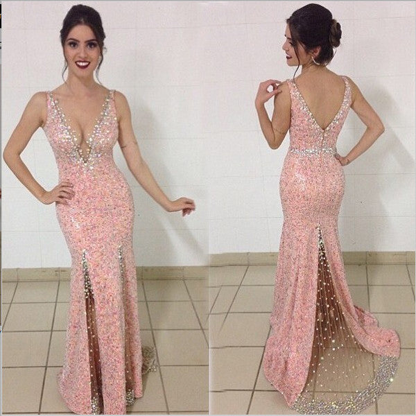 Pink Sequin Back V Off the Shoulder Mermaid Long Sexy Evening Prom Dress LD057