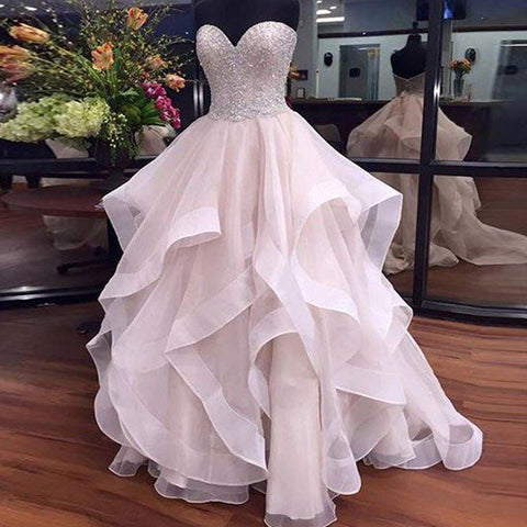 cd4046d2675 Sweetheart Beaded High Low Ball Gown Prom Quinceanera Dresses LD059 –  Laurafashionshop