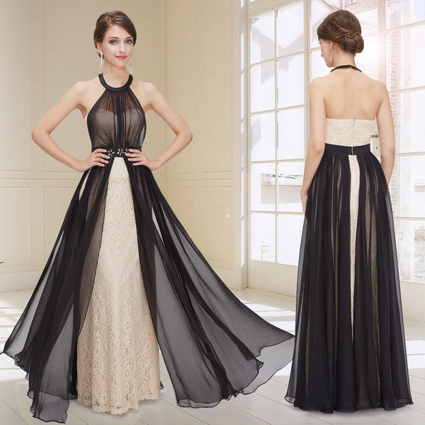 Lace Backless Black Halter Long Prom Dresses Evening Gowns LD060