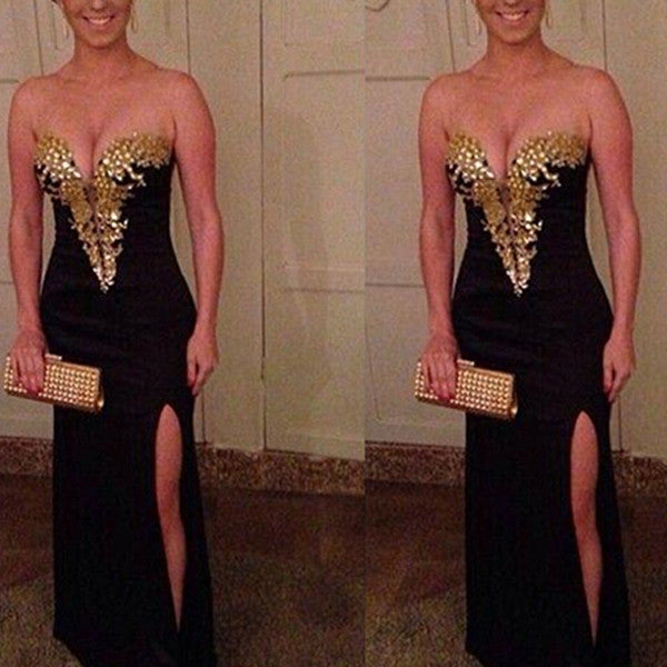 Gold Beaded Black Chiffon Mermaid Slit Prom Dress Evening Gowns LD061