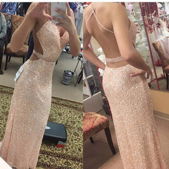 Backless Pink Sequin Mermaid Spaghetti Straps Evening Prom Dress LD066