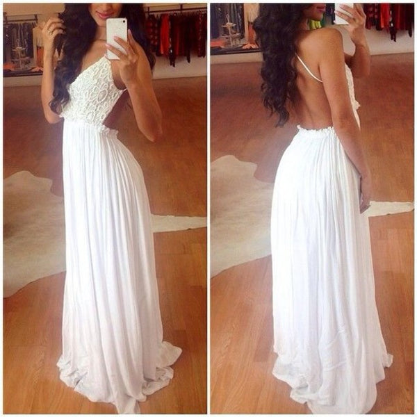 Spaghetti Straps White Lace Backless Long Prom Dresses Evening Gowns LD067
