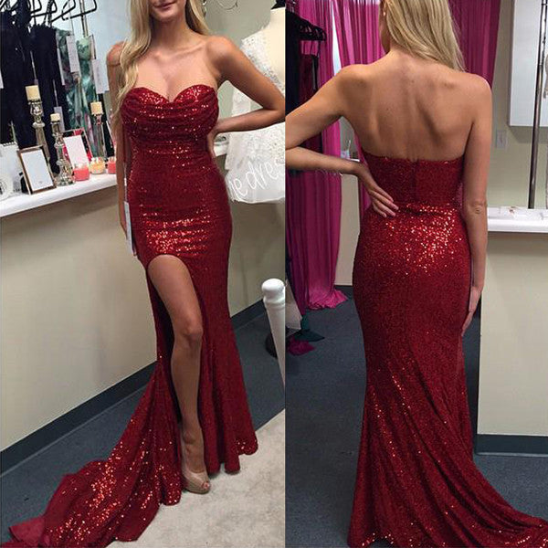 Burgundy Sequin Mermaid Front Slit Long Evening Prom Dresses LD069