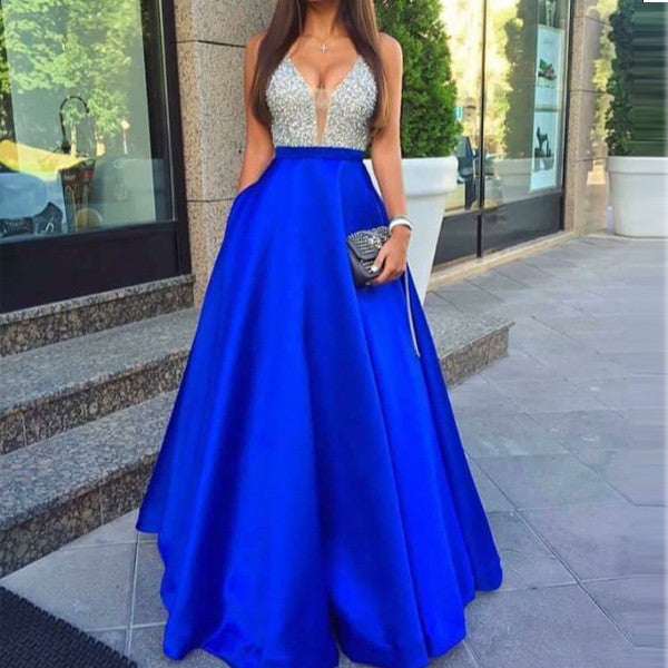 Royal Blue V Neck Beaded Long Evening Gowns Prom Dresses  LD072