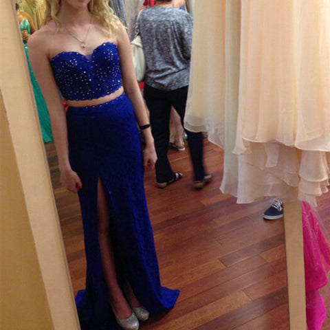 Mermaid 2 Pieces Royal Blue Slit Long Prom Dresses Evening Gowns LD073