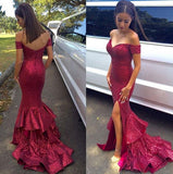 Short Sleeves Burgundy Sequin Mermaid Backless Slit Prom Dress LD074