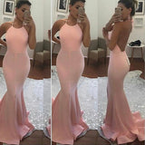 Halter Pink Open Back Mermaid Long Evening Gowns Prom Dress LD076