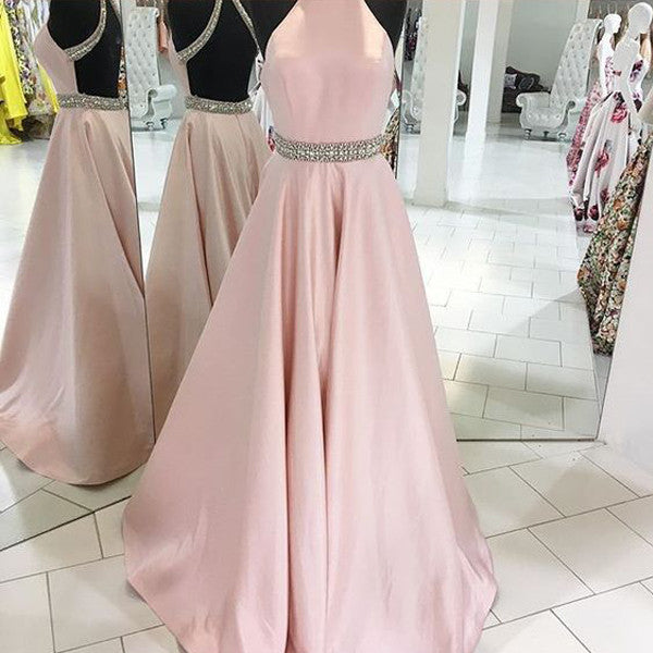 High Neck Pink Satin Backless Long Prom Dresses Evening Gowns LD077