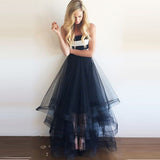 White Satin Navy Blue Skirt Tiered Long Prom Dress Evening Gowns LD078