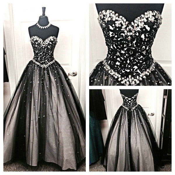 Black Lace White Ball Gown Sweetheart Prom Dresses Quinceanera Dress LD079