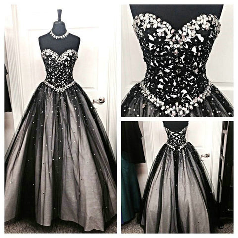Black Lace White Ball Gown Sweetheart Prom Dresses Quinceanera Dress ...