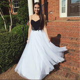Black White Chiffon A Line Spaghetti Straps Long Evening Prom Dress LD083