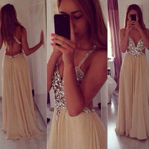 Sexy Open Back Spaghetti Straps Crystal Long Evening Prom Dresses LD084