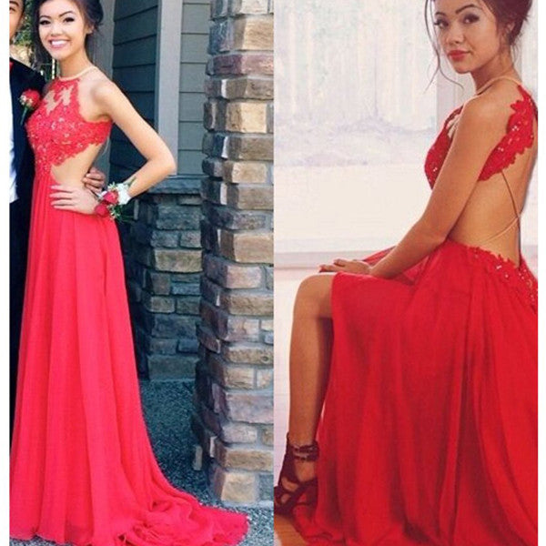 Red Lace Spaghetti Straps Backless High Neck Evening Prom Dresses LD087