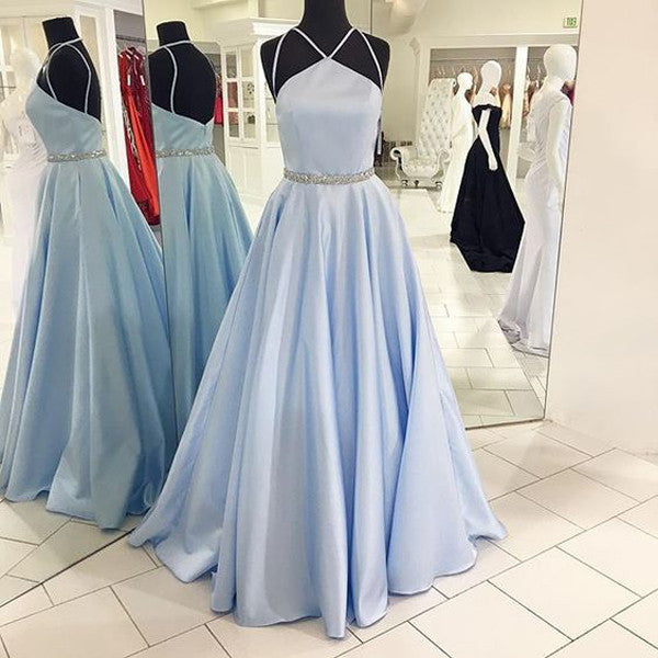 Light Blue Spaghetti Straps Long Prom Gowns Evening Dresses LD088