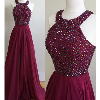 A Line High Neck Beaded Dark Red Long Prom Dresses Evening Gowns LD091