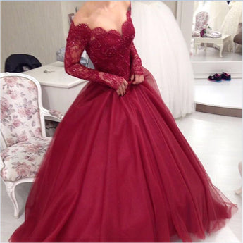 Long Sleeves Burgundy Lace V Neck Ball Gown Prom Quinceanera Dresses LD093