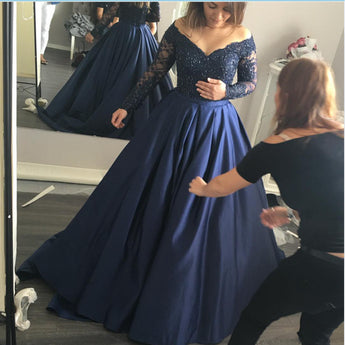 Dark Blue Lace Long Sleeves Prom Quinceanera Dresses Evening Gowns LD094