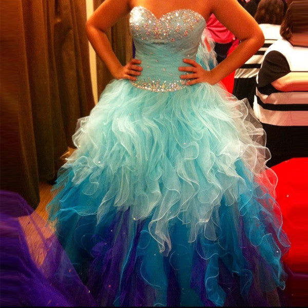 Gradient Light Blue Bodice Sweetheart Prom Gowns Quinceanera Dresses LD095