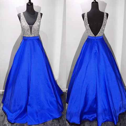 Off the Shoulder Royal Blue Deep V Neck Backless Prom Dress Evening Gowns LD096