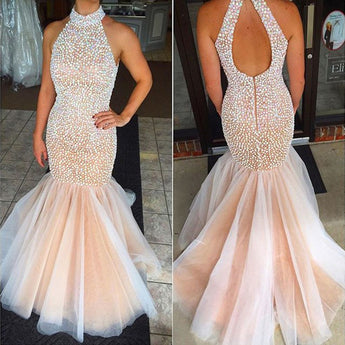 Blush Pink High Neck Crystal Mermaid Prom Dresses Evening Gowns LD098