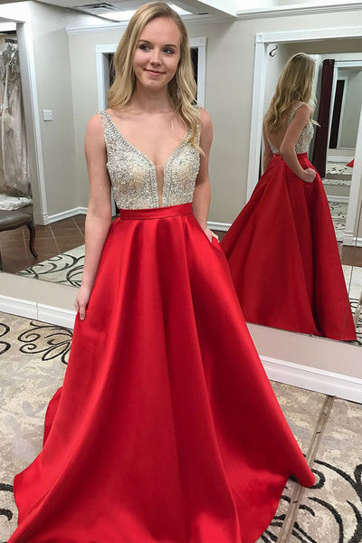 Chic Deep V Neck Open Back Red Satin Prom Dresses Evening Gowns Party Dress LD1002