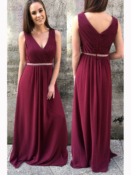 A Line V Neck Ruffles Burgundy Chiffon Long Prom Dress Evening Bridesmaid Dresses LD1003