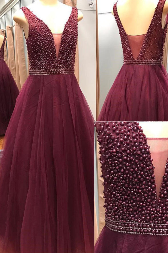 Deep V Neck Burgundy Tulle Pearls Backless Prom Dresses Evening Gowns Party Dress LD1005