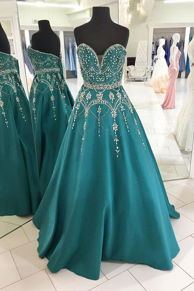 Sweetheart V Neck Emerald Green Satin Beaded Prom Dresses Evening Gowns Party Dress LD1006