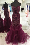 New Arrival Sweetheart Burgundy Beads Mermaid Prom Dresses Evening Party Dress LD1007