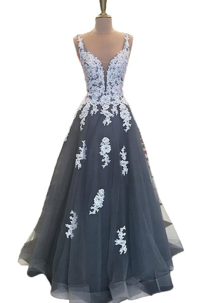 Deep V Neck Off the Shoulder Grey Tulle White Lace Prom Dresses Evening Party Dress LD1008