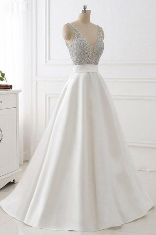 A Line V Neck Off the Shoulder Beads Ivory Backless Prom Dresses Evening Gown Party Dress LD1009