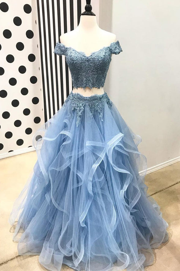 2 Pieces Short Sleeves Blue Lace Tulle Tiered Skirt Prom Dresses Evening Party Dress LD1010