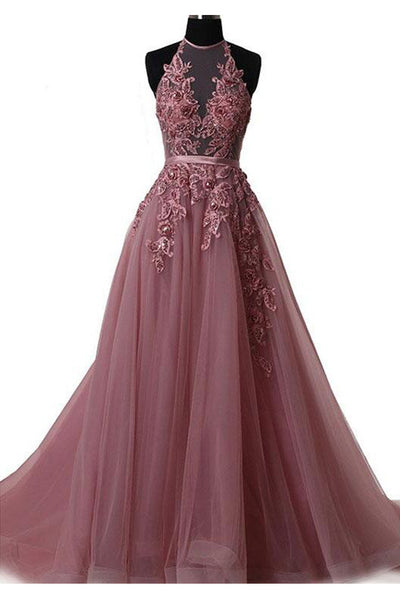 New 2018 Hater Backless Lace Appliques A Line Long Prom Dresses Evening Party Dress LD1011