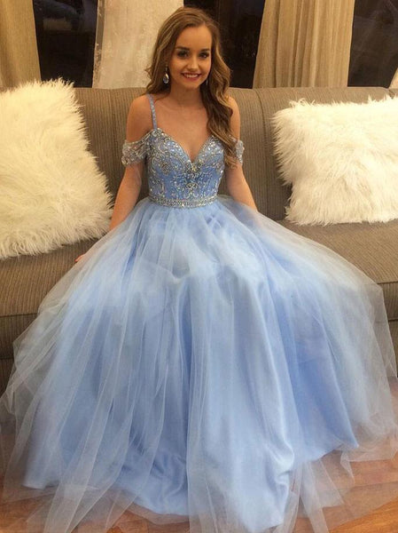 Fashion Straps Light Blue Rhinestones Prom Dresses Evening Formal Woman Dress LD1014