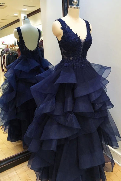 Hi-Lo Tiered Skirt V Neck Navy Blue Backless Prom Dresses Evening Gowns Dress LD1015