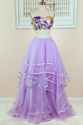 New 2018 Dark Lilac Tiered Skirt 2 Piece Prom Dress Formal Woman