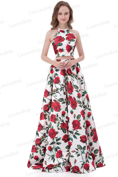 New Arrival 2 Pieces Printed Fabric Red Rose Prom Dresses Evening Formal Dress LD1019