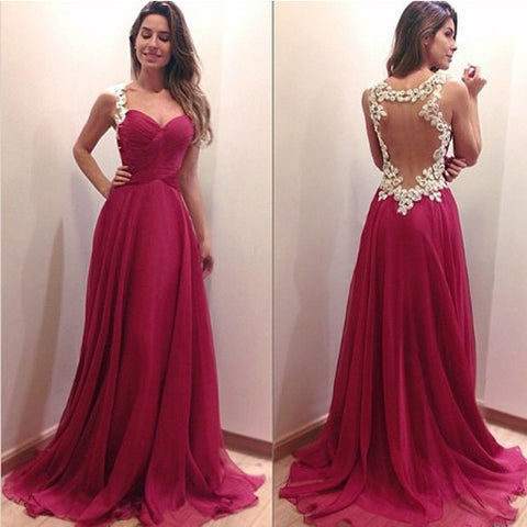 Ivory Lace Burgundy See Through Long Prom Dress Evening Gowns LD101