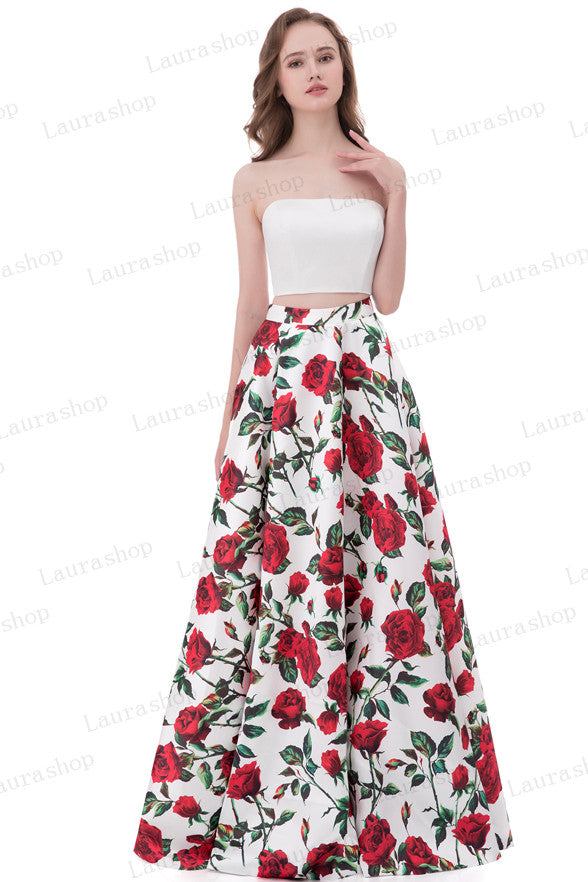A Line 2 Pieces Printed Fabric Strapless Long Prom Dresses Evening Formal Dress LD1020