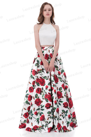 Red Rose Two Pieces Printed Fabric Halter Cheap Prom Dresses Evening Party Dress LD1022