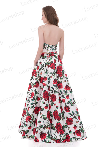 2 Pieces Red Rose Printed Fabric Strapless Long Prom Dress Evening Formal Dresses LD1023