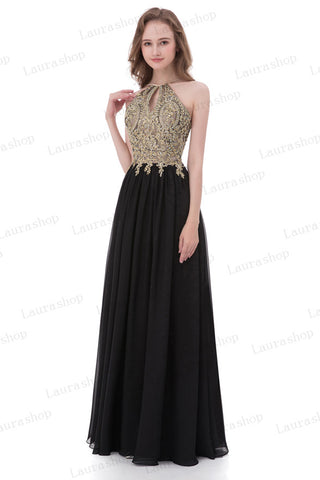 Chic Lace Appliques Black Chiffon Backless Prom Dresses Evening Formal Dress LD1024