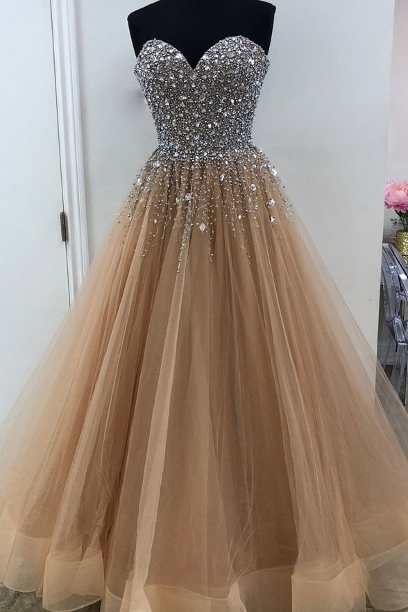 Heavy Beaded Sweetheart A Line Prom Dresses Evening Gown