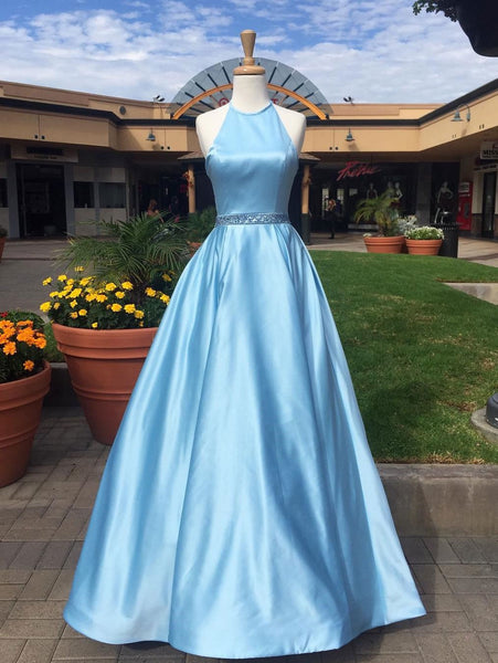 A Line Light Blue Satin Halter Long Prom Dresses Evening Gown Formal Dress LD1026