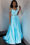 Light Blue Satin Off the Shoulder Plus Size Prom Dresses Evening Gown Formal Dress LD1027